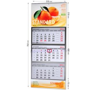 Kaledarz trójdzielny - standard z wypukłą główką i doklejką